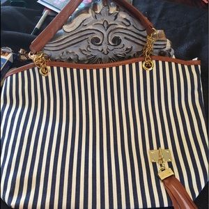 Handbags - Blue ,white, and brown large Bag